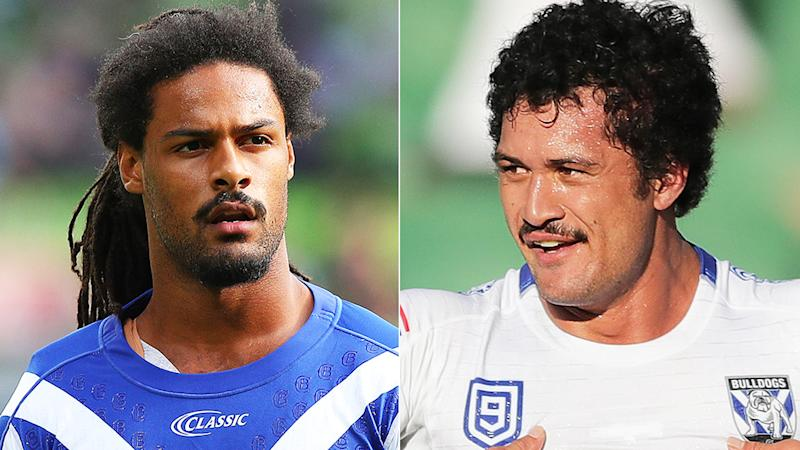Canterbury Bulldogs players Jayden Okunbor and Corey Harawira-Naera pictured in a split 50/50 photo.