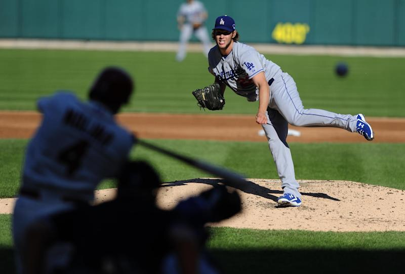 Los Angeles Dodgers starting pitcher Clayton Kershaw throws to St. Louis Cardinals' Yadier Molina during the first inning of Game 2 of the National League baseball championship series Saturday, Oct. 12, 2013, in St. Louis. (AP Photo/Jeff Curry, Pool)