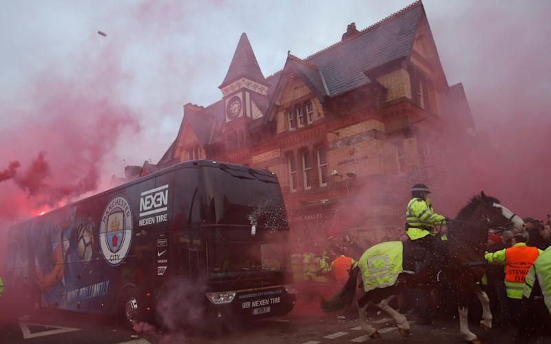 Manchester City's bus came under attack on its way to Anfield last season - Action Images via Reuters