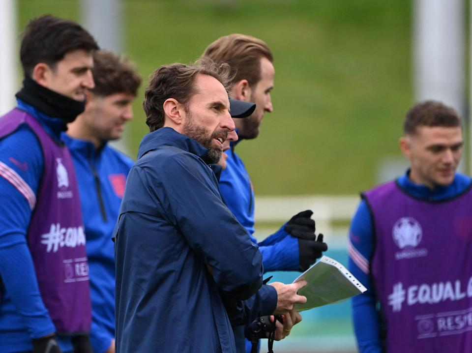 Gareth Southgate and his England players (AFP via Getty Images)