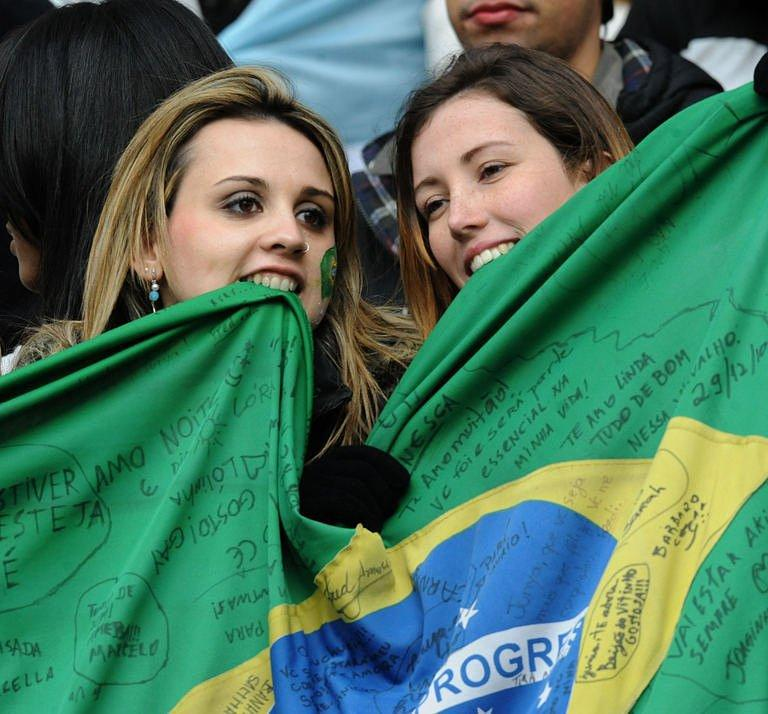 Brazilian fans wait for the 2011 Copa America Group B first round football match against Venezuela
