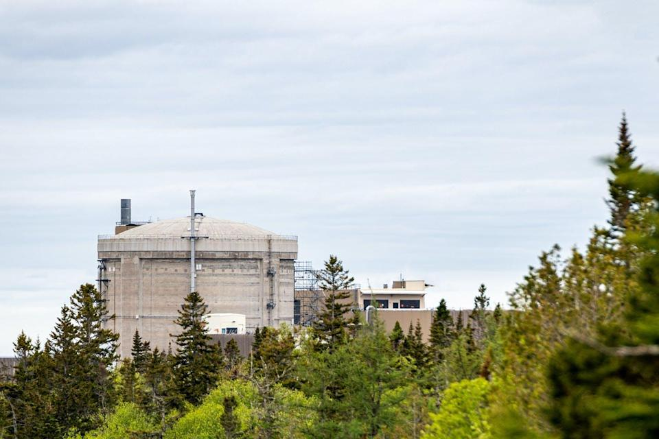 A distant view of the Point Lepreau nuclear generating station