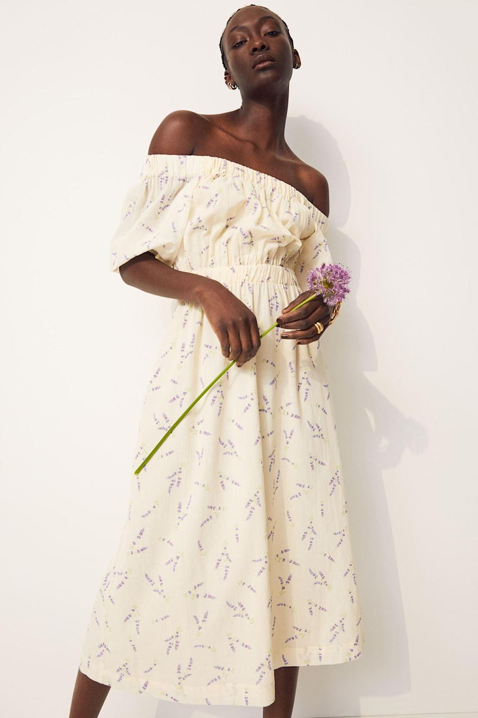 <p>This <span>Off-the-shoulder Dress</span> ($35) is a summer midi dress dream come true.</p>
