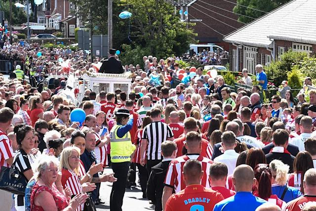 <p>Mourners line the streets ahead of the funeral of Bradley Lowery (SWNS) </p>