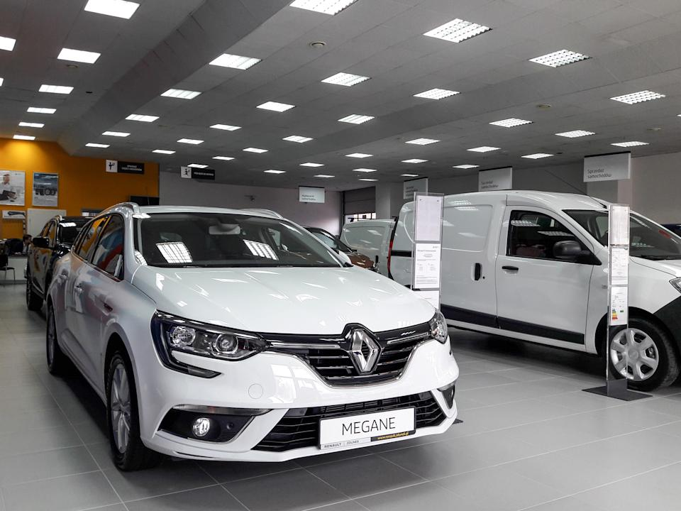 Dacia Dokker and Renault Megane in the Zdunek car dealer showroom are seen in Sopot, Poland on 7 February 2019 According to the Romanian Automobile Manufacturers Association the number of Dacia cars registered in the European Union increased by 12% in 2018 to 519,088 units. Dacia reached a car market share of 3.4% in 2018. The largest Dacia markets were Germany and the UK. (Photo by Michal Fludra/NurPhoto via Getty Images)
