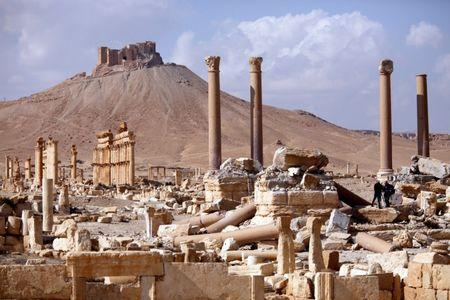 A general view shows ruins in the historic city of Palmyra