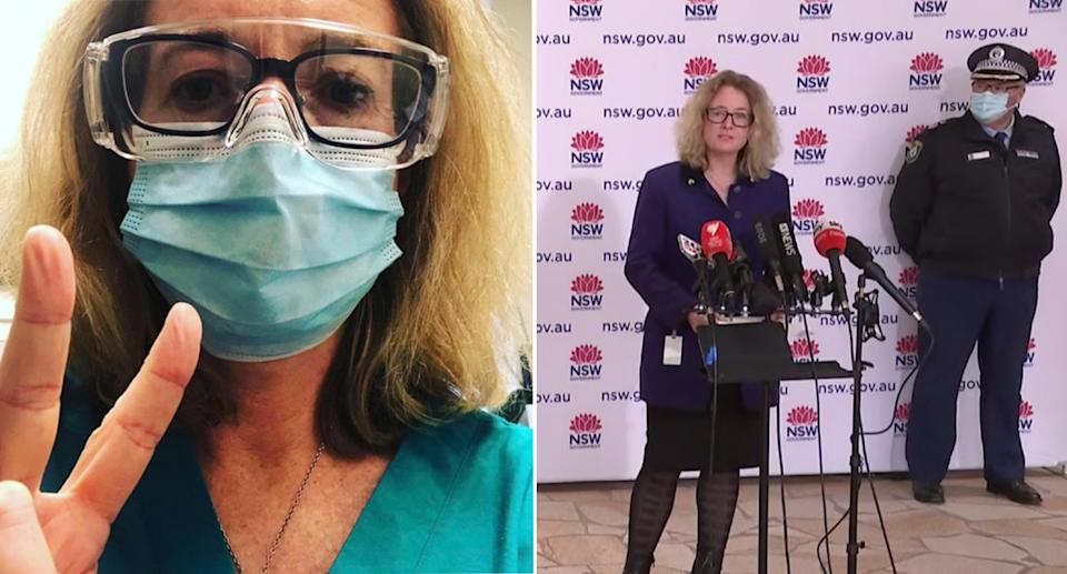 Left: A selfie of Dr Morgan wearing glasses and a face mask. Right: Dr Morgan at Wednesday's press conference