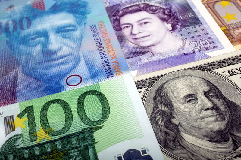 FILE PHOTO: A picture illustration of U.S. dollar Swiss Franc British pound and Euro bank notes