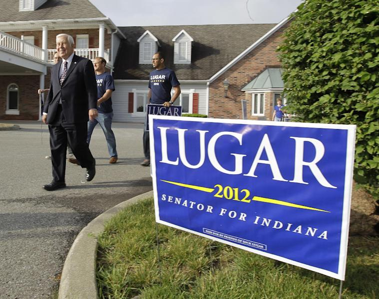 Sen. Richard Lugar leaves a polling location after meeting with voters Tuesday, May 8, 2012, in Greenwood, Ind. Lugar is being challenged by two-term state Treasurer Richard Mourdock. (AP Photo/Darron Cummings)