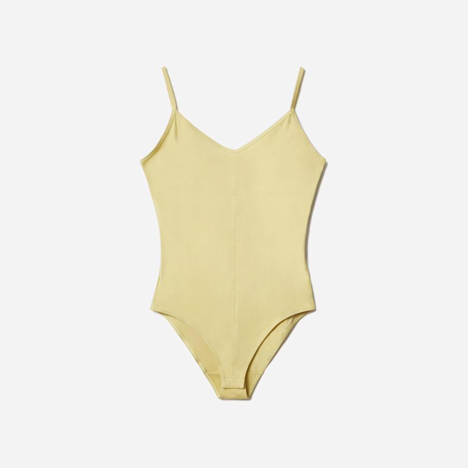 """<p><strong>everlane</strong></p><p>everlane.com</p><p><strong>$35.00</strong></p><p><a href=""""https://go.redirectingat.com?id=74968X1596630&url=https%3A%2F%2Fwww.everlane.com%2Fproducts%2Fwomens-cami-bodysuit-anise&sref=https%3A%2F%2Fwww.countryliving.com%2Flife%2Fentertainment%2Fg36701989%2Froyal-family-fashion-hacks-style-tricks%2F"""" rel=""""nofollow noopener"""" target=""""_blank"""" data-ylk=""""slk:Shop Now"""" class=""""link rapid-noclick-resp"""">Shop Now</a></p><p>This style has a super thin straps, which is helpful if you're planning to wear it under something sleeveless; plus, it's plain ol' sexy all by itself, too.</p>"""