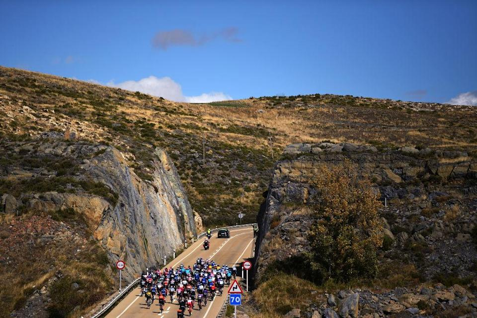 EJEADELOSCABALLEROS SPAIN  OCTOBER 23 Peloton  Landscape  during the 75th Tour of Spain 2020 Stage 4 a 1917km stage from Garray  Numancia to Ejea de los Caballeros  lavuelta  LaVuelta20  La Vuelta  on October 23 2020 in Ejea de los Caballeros Spain Photo by David RamosGetty Images