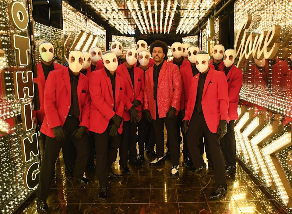 The Weeknd and his dancers at The Super Bowl halftime show
