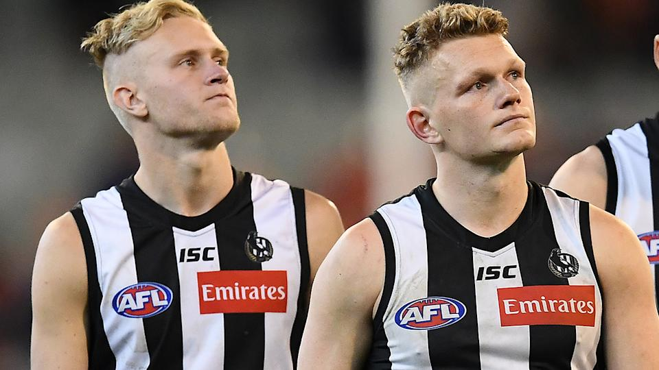 Jaidyn Stephenson and Adam Treloar have both been traded away from Collingwood. (Photo by Quinn Rooney/Getty Images)