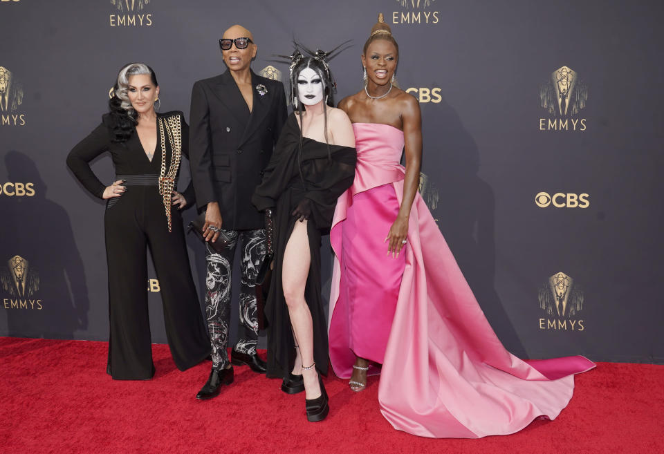 Michelle Visage, from left, RuPaul, Gottmik and Symone arrive at the 73rd Primetime Emmy Awards on Sunday, Sept. 19, 2021, at L.A. Live in Los Angeles. (AP Photo/Chris Pizzello)