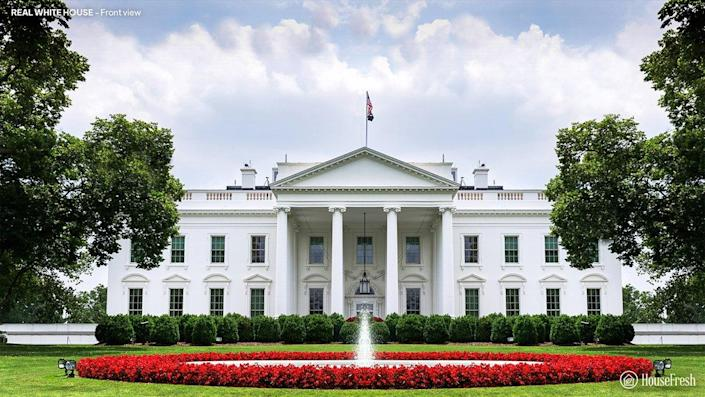 Front view of the current White House, based on a project by Irish architect James Hoban.