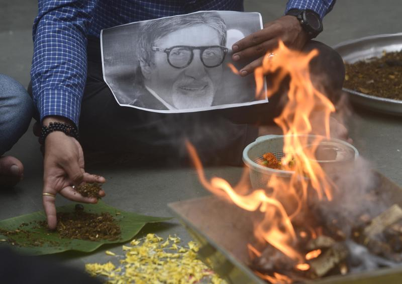 MUMBAI, INDIA - JULY 12: Havan is being performed for speedy recovery of actor Amitabh Bachchan after he was tested positive for Coronavirus, at Kandivali west, on July 12, in Mumbai, India. (Photo by Satyabrata Tripathy/Hindustan Times via Getty Images)