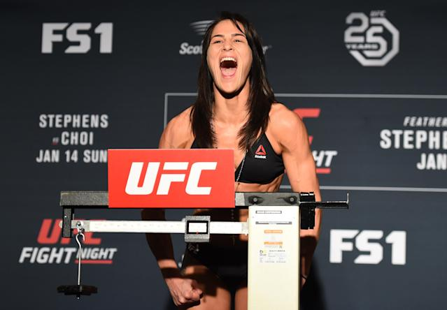 Jessica Eye took tough losses as a bantamweight. Now she's in her comfort zone competing in the UFC flyweight division. (Photo by Josh Hedges/Zuffa LLC/Zuffa LLC via Getty Images)