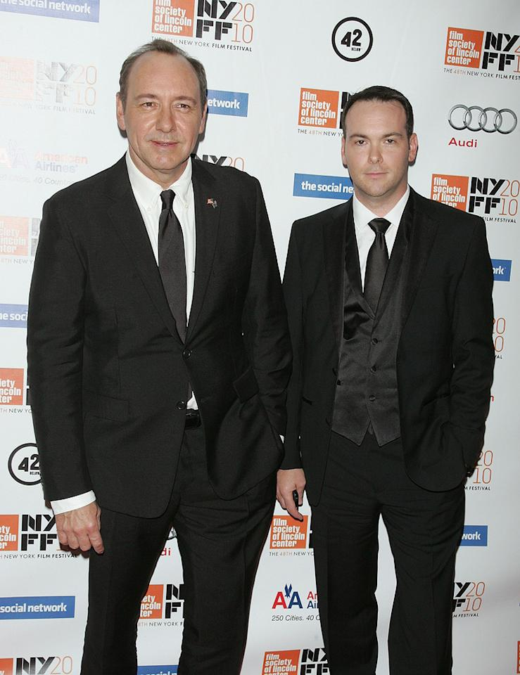 """<a href=""""http://movies.yahoo.com/movie/contributor/1800018626"""">Kevin Spacey</a> and <a href=""""http://movies.yahoo.com/movie/contributor/1808885930"""">Dana Brunetti</a> at the New York City premiere of <a href=""""http://movies.yahoo.com/movie/1810128131/info"""">The Social Network</a> on September 24, 2010."""