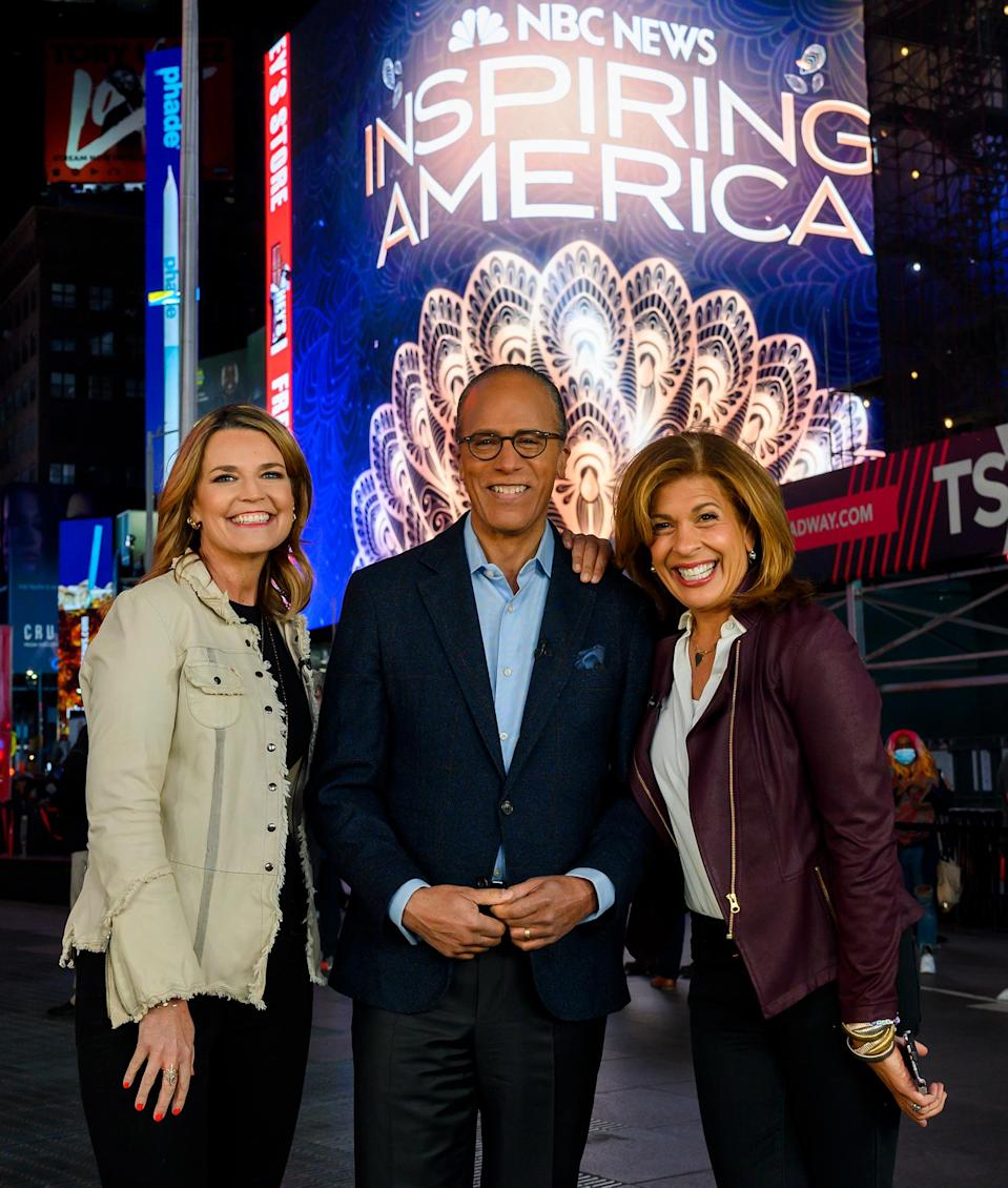 <p>The hosts of <em>Inspiring America</em>, Savannah Guthrie, Lester Holt and Hoda Kotb, are seen filming in N.Y.C.'s Times Square.</p>