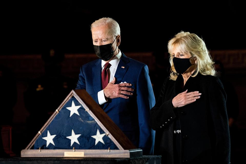 <p>President Joe Biden and first lady Dr Jill Biden wearing masks. The President has more recently favoured wearing two face coverings for extra protection.</p> (Getty)