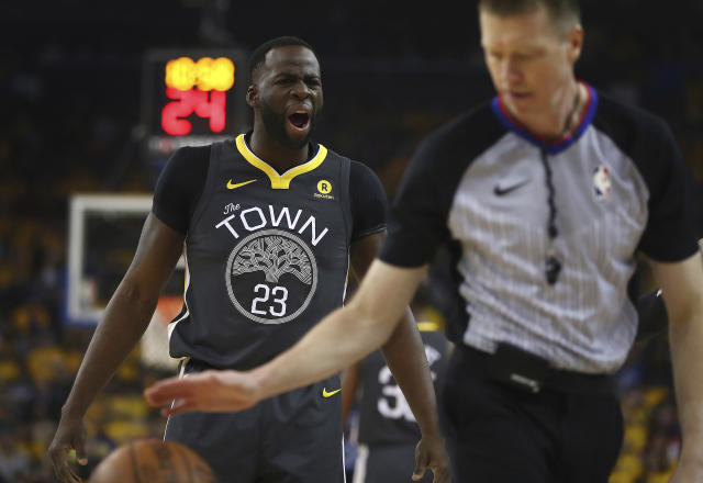 "Comedian Andrew Polk tweeted, ""I hope Draymond Green gets shot in the face…"" during Game 4 between the Warriors and Pelicans. (AP Photo/Ben Margot)"