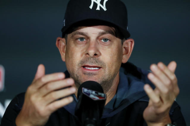 New York Yankees manager Aaron Boone speaks to the media at a news conference in London, Friday, June 28, 2019. The New York Yankees and Boston Red Sox will play two games in London starting tomorrow. (AP Photo/Frank Augstein)