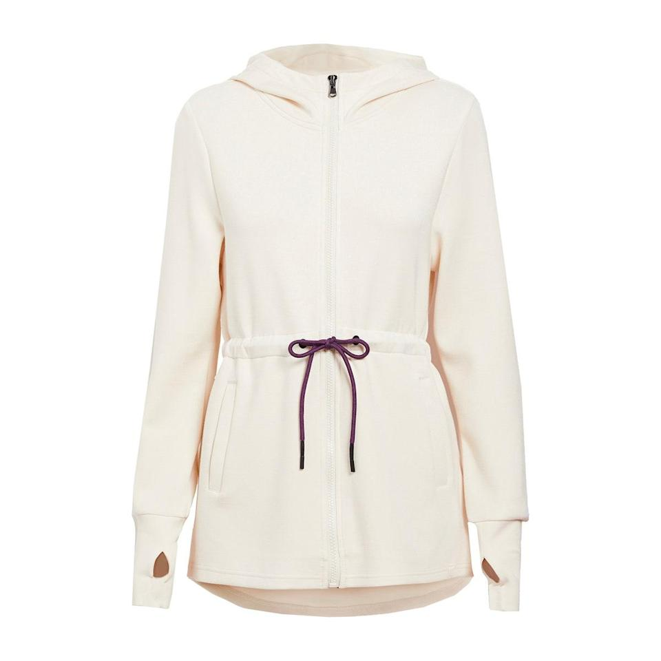 """A zip-up hoodie is arguably one of the most hardworking pieces in anyone's wardrobe. But instead of going the oversized route, check out this one from Varley. It has a drawstring waist and can easily double as a jacket because of its longer length. $158, Amazon. <a href=""""https://www.amazon.com/Varley-Womens-Hoodie-Pristine-XX-Small/dp/B08DP82L6Z?s=shopbop&ref_=sb_ts"""" rel=""""nofollow noopener"""" target=""""_blank"""" data-ylk=""""slk:Get it now!"""" class=""""link rapid-noclick-resp"""">Get it now!</a>"""