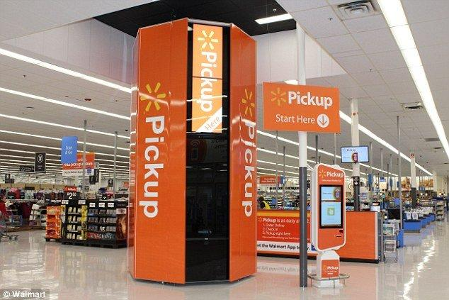 One of Walmart's in-store grocery pickup kiosks.