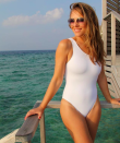 "<p><strong>DOB: 10 June 1965</strong><br>The British actress largely uses her social media to model her swimwear designs. This photo, posted at the start on 2019, shows the star in a chic, <a href=""https://www.elizabethhurley.com/products/one-pieces/athena-one-piece/white/5-929-75"" rel=""nofollow noopener"" target=""_blank"" data-ylk=""slk:one-shoulder swimsuit"" class=""link rapid-noclick-resp"">one-shoulder swimsuit</a> that will set you back £144. Her incredible figure is down to a regimented daily routine, which starts with a big glass of warm water, a cold shower, fake tan and a brisk, 30-minute walk every day. <em>[Photo: Instagram]</em> </p>"
