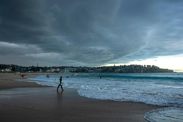 A storm front moves over Bondi beach in Sydney, Australia.