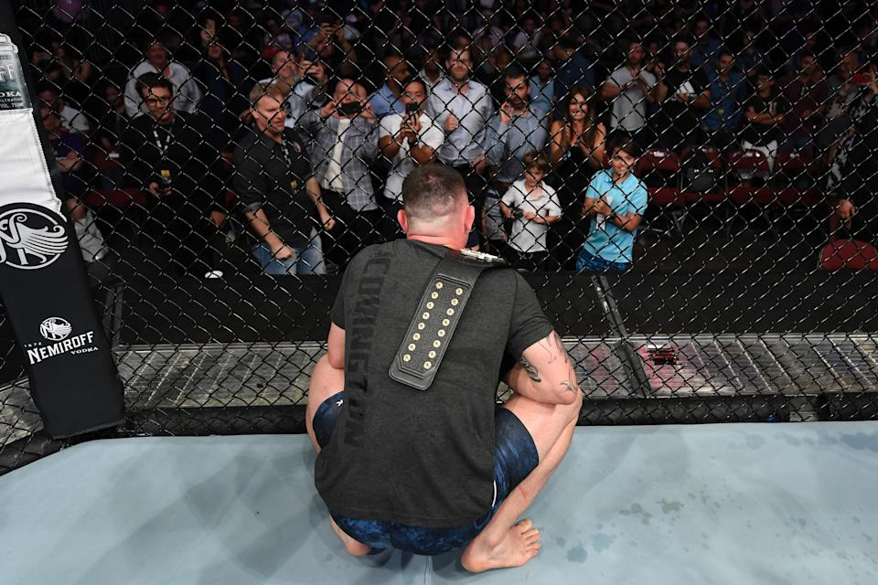 NEWARK, NJ - AUGUST 03:  Colby Covington speaks to the Trump family after the conclusion of his welterweight bout against Robbie Lawler during the UFC Fight Night event at the Prudential Center on August 3, 2019 in Newark, New Jersey. (Photo by Josh Hedges/Zuffa LLC/Zuffa LLC via Getty Images)