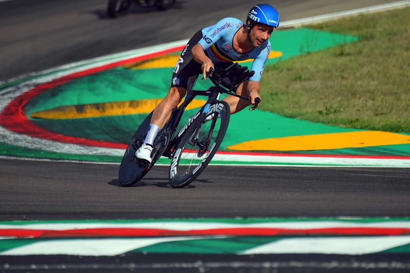 Belgium's Victor Campenaerts rode to eighth place in the elite men's time trial at the 2020 World Championships in Imola, Italy