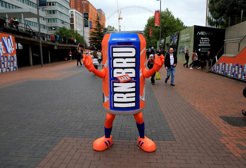 A giant Irn-Bru can on Wembley Way. Photo: Getty