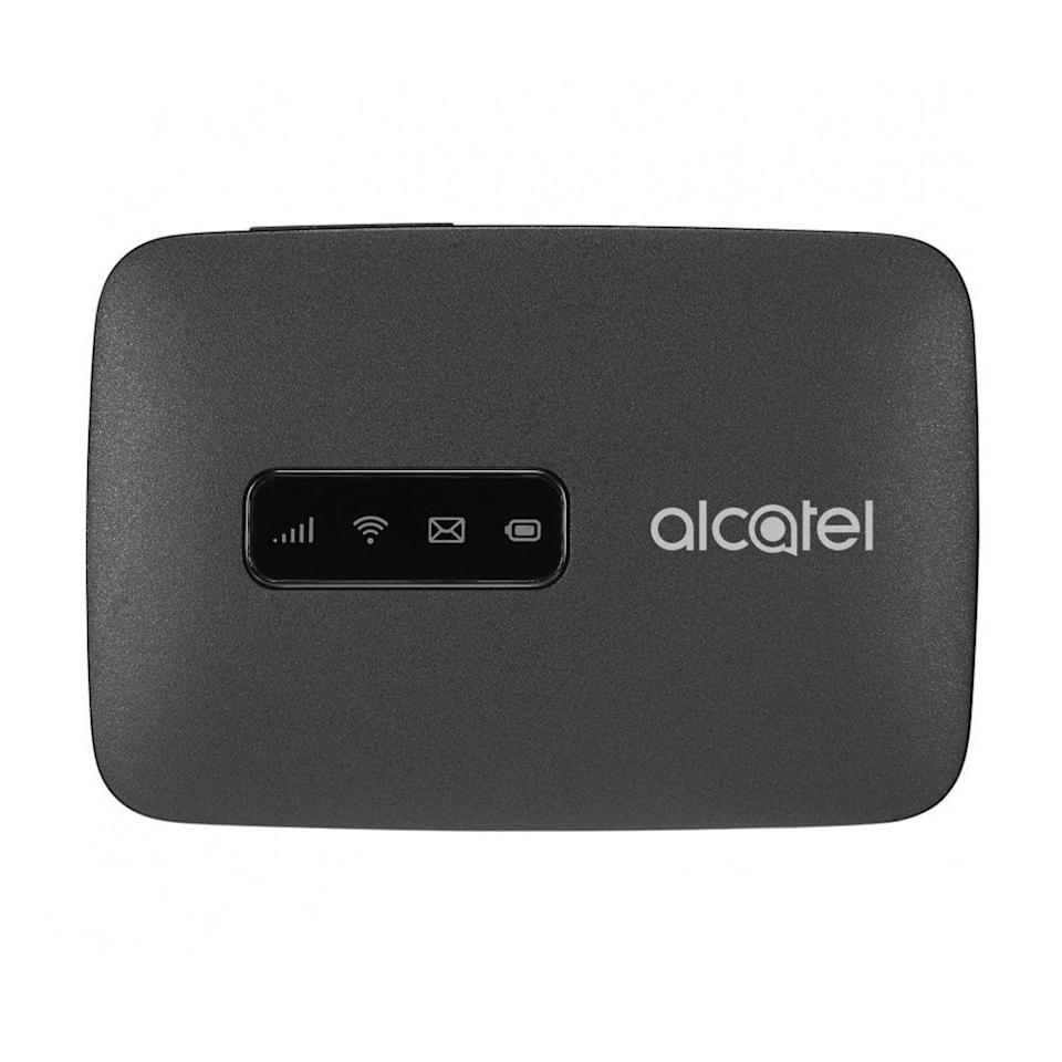 """<p><strong>Alcatel</strong></p><p>amazon.com</p><p><strong>$63.50</strong></p><p><a href=""""https://www.amazon.com/dp/B07791Y58K?th=1&tag=syn-yahoo-20&ascsubtag=%5Bartid%7C2089.g.1336%5Bsrc%7Cyahoo-us"""" rel=""""nofollow noopener"""" target=""""_blank"""" data-ylk=""""slk:Shop Now"""" class=""""link rapid-noclick-resp"""">Shop Now</a></p><p>This unlocked device weighs a tad more than 3 ounces, and it's smaller than a deck of cards, so you can easily slide it into your pocket. It can deliver Wi-Fi 802.11b/g/n connectivity to up to 15 devices by utilizing GSM networks. Unfortunately, it only works on a 2.4 GHz band. Other hotspots can output a 5 GHz band, which comes in handy in congested areas like airports.<br></p><p>The hotspot's 1,800 mAh battery is slightly smaller than other hotspots, too, and it provides about 8 hours of use. This hotspot doesn't have a display, so there's no way of telling how strong the signal is. Despite these shortcomings, the Alcatel LINKZONE is a good value for the price.</p>"""