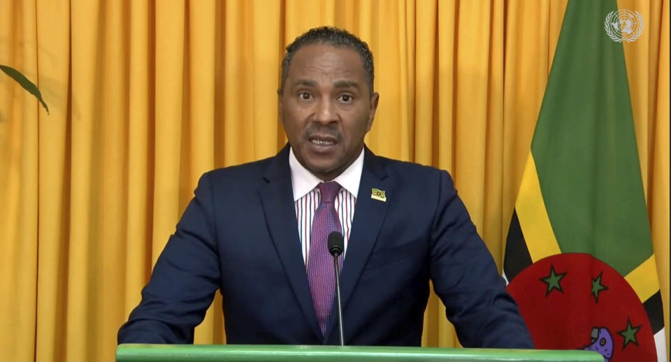 In this image from video provided by the United Nations, Dominica's Foreign Minister Kenneth Darroux addresses the 76th session of U.N. General Assembly in a pre-recorded message presented at U.N. headquarters, Monday, Sept. 27, 2021. (UNTV via AP)