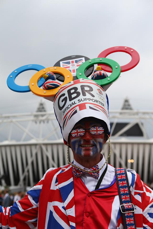 LONDON, ENGLAND - JULY 27:  A British fan shows off his colours during the London 2012 Olympic Games Opening Ceremony at the Olympic Stadium on July 27, 2012 in London, England.  (Photo by Michael Steele/Getty Images)