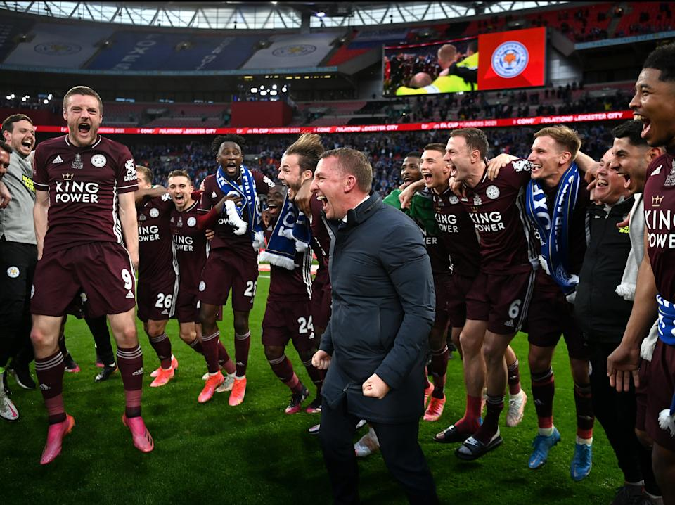 Leicester celebrate their victory (The FA via Getty Images)