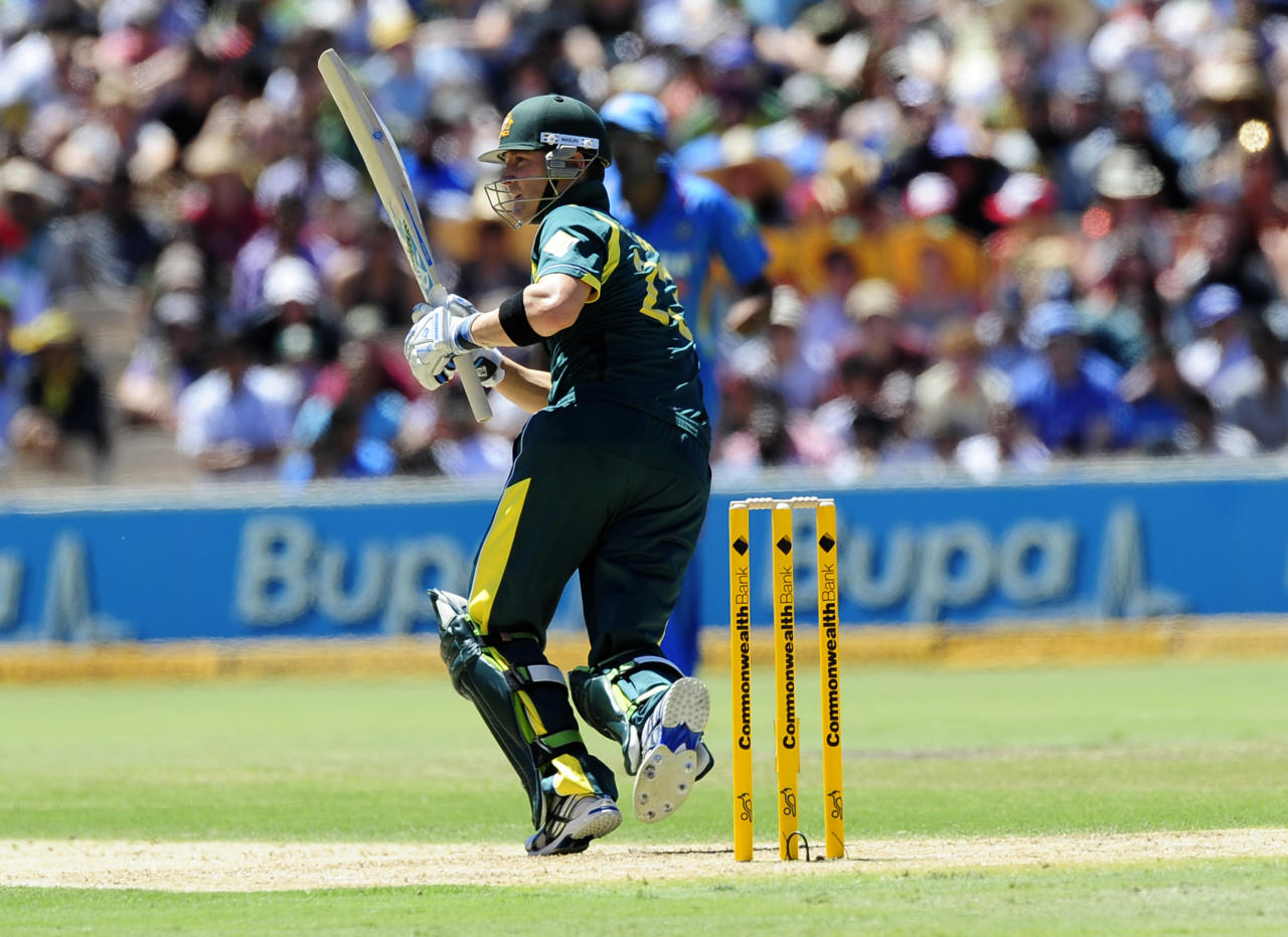Australia's Michael Clarke bats against India during their One Day International series cricket match in Adelaide, Australia, Sunday, Feb. 12, 2012. (AP Photo/David Mariuz)