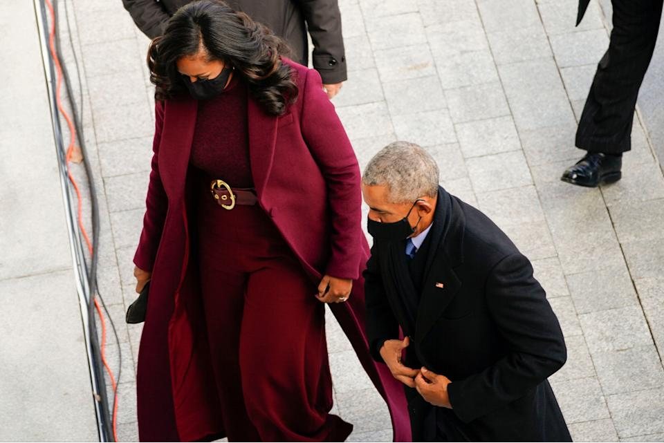 Former US President Barack Obama and former First lady Michele Obama arrive for the inaugurationPOOL/AFP via Getty Images
