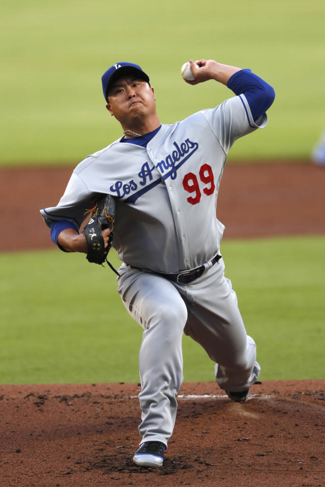 Los Angeles Dodgers starting pitcher Hyun-Jin Ryu throws in the first inning of a baseball game against the Atlanta Braves, Saturday, Aug. 17, 2019, in Atlanta. (AP Photo/John Bazemore)