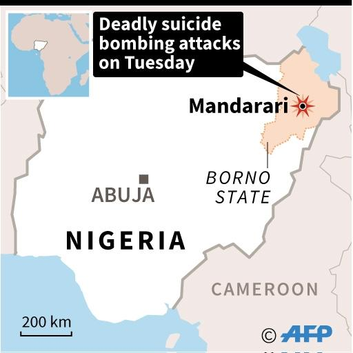 Map of Nigeria locating deadly attack by three women suicide bombers in Mandarari (AFP Photo/AFP  )