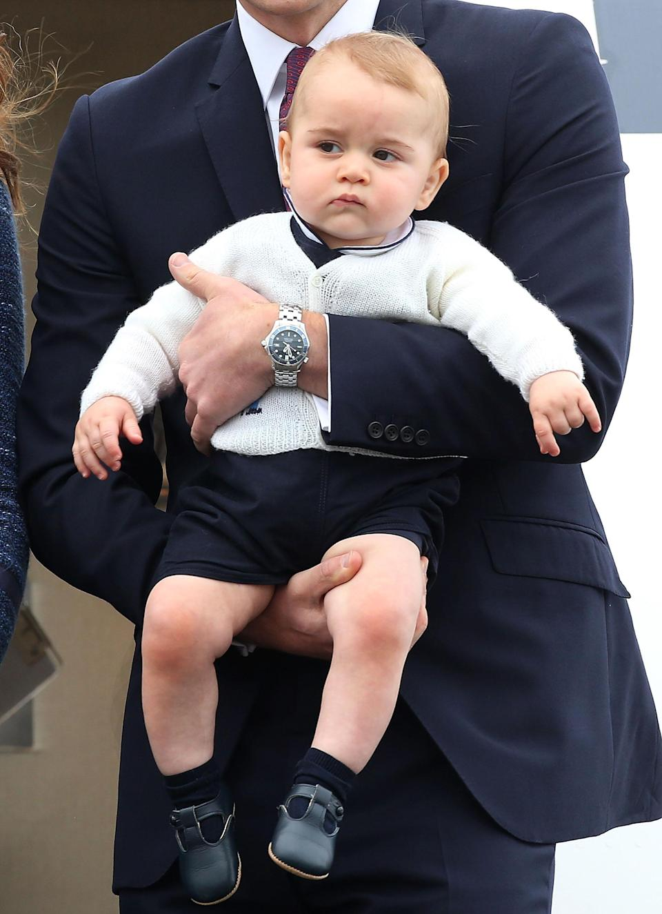 <p>Prince George learned to walk in a pair of navy t-bar shoes which mums across the nation soon fell for. And many will be pleased to learn that they're <em>still</em> in stock. <em>[Photo: Getty]</em> </p>