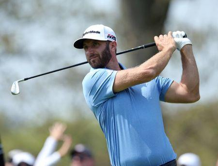 May 17, 2019; Bethpage, NY, USA; Dustin Johnson plays his shot from the second tee during the second round of the PGA Championship golf tournament at Bethpage State Park - Black Course. Mandatory Credit: Brad Penner-USA TODAY Sports