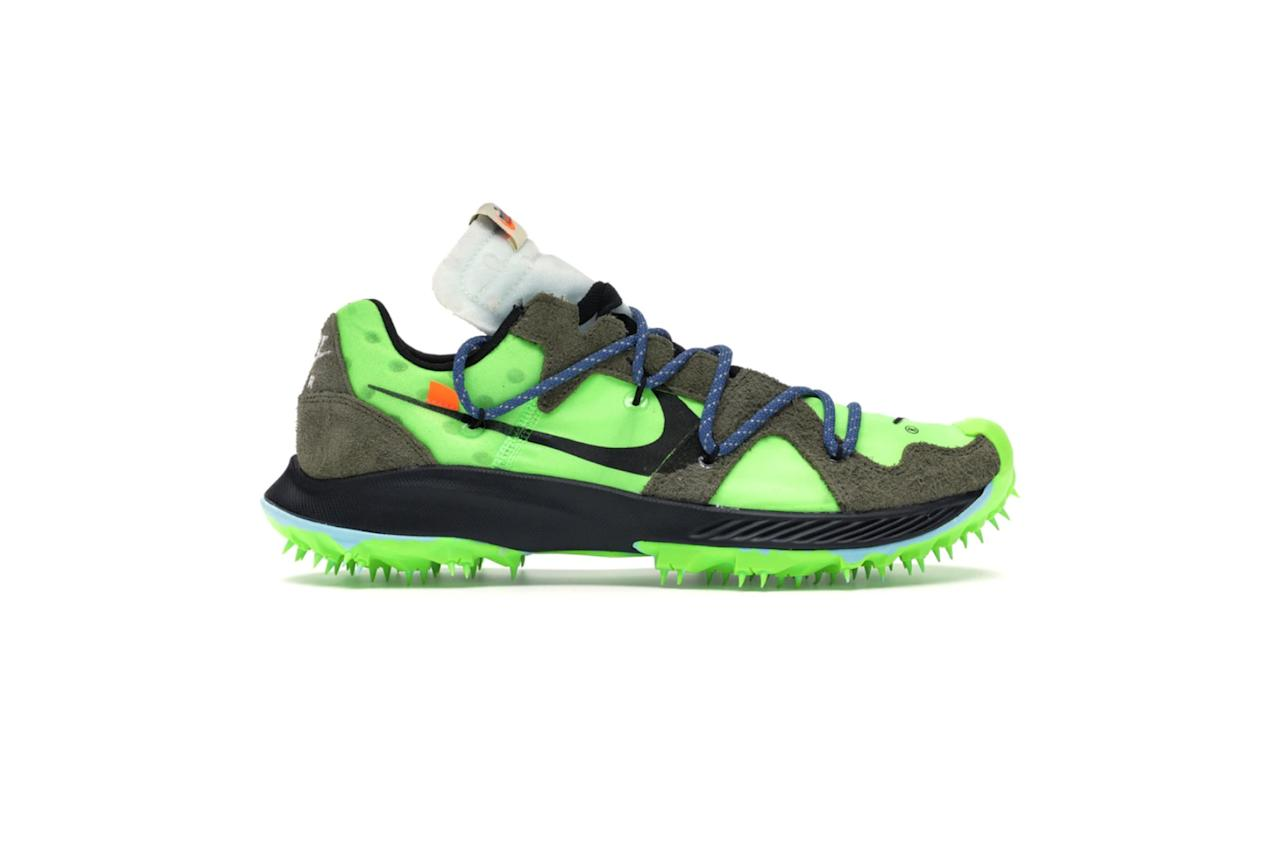 """$184, StockX. <a href=""""https://stockx.com/nike-zoom-terra-kiger-5-off-white-electric-green-w"""">Get it now!</a>"""
