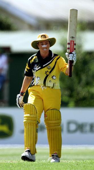 13 Dec 2000:   Karen Rolton of Australia celebrates reaching her century whilst scoring 107 not out during the Australia v South Africa match in the  2000 CricInfo Womens Cricket World Cup match played at BIL Oval, Lincoln, New Zealand. Australia defeated South Africa by 9 wickets. DIGITAL IMAGE. Mandatory Credit: Scott Barbour/ALLSPORT