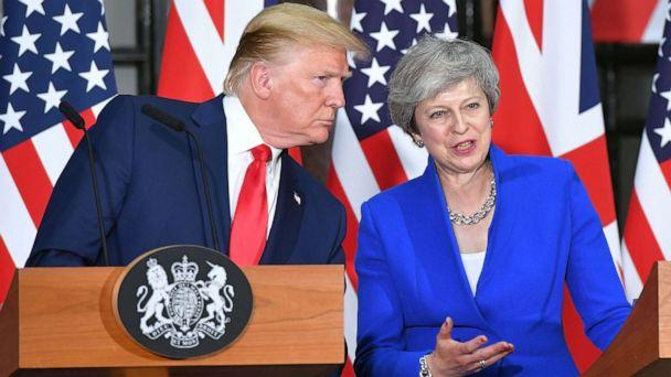 PHOTO: President Donald Trump and Britain's Prime Minister Theresa May give a joint press conference at the Foreign and Commonwealth office in London, June 4, 2019. (Mandel Ngan/AFP/Getty Images)