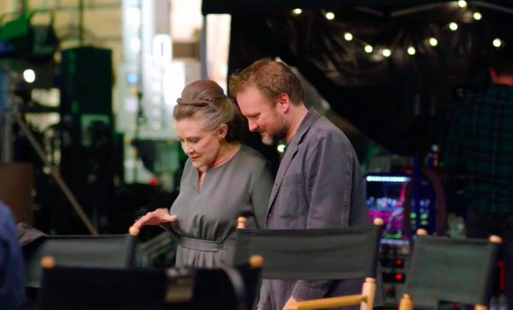 Carrie Fisher and Rian Johnson on the set of The Last Jedi