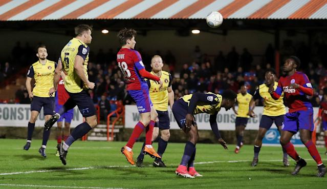 Soccer Football - National League Play-Off Eliminator - Aldershot Town v Ebbsfleet United - EBB Stadium, Aldershot, Britain - May 2, 2018 Ebbsfleet United's Dave Winfield scores their first goal Action Images/Peter Cziborra