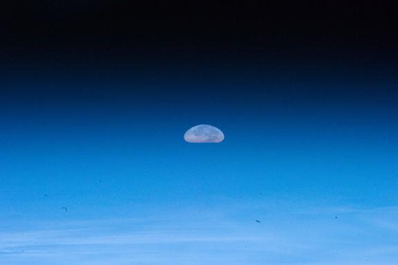 The Aug. 1, 2012, full moon appears squashed due to distortions by Earth's atmosphere in this photo by an astronaut on the International Space Station.
