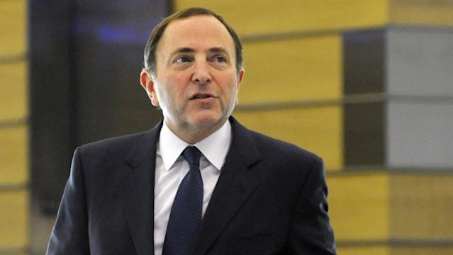 "Monday's news regarding self-quarantining and travel is an acknowledgement that the ""pause"" in play by NHL Commissioner Gary Bettman will be longer than initially thought. <span class=""copyright"">(Louis Lanzano / Associated Press)</span>"